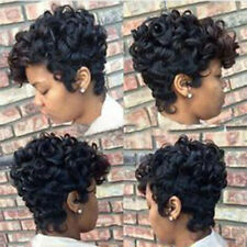 Women Short Black Brown FrontCurly Hairstyle Synthetic Hair Wigs For BlackWOmen