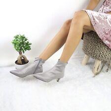 Topshop NEW Women's Size 40 Gray BONBON Sock Satin Ankle Boots NWOB