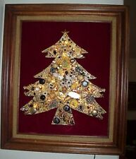 GORGEOUS! OOAK! VINTAGE FRAMED LIGHTS JEWELRY CHRISTMAS TREE FOLK ART PICTURE