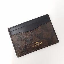 NWT Coach F63279 signature canvas card case/holder Brown/Black gift set