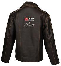 Men Leather Heavyweight Jacket Coat (1963-1967 C2 Corvette Logo) XL Tall XLT