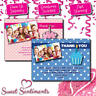 Personalised Birthday Party Polka Dot Photo Thank You Cards  A6 Flat Cards x10