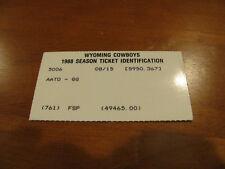 University of Wyoming 1988 Football Pocket Schedule