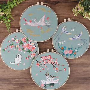 Set DIY Embroidery Beginners Kits Pre-Printed Floral Pattern Cross Stitch W/Hoop