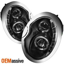 Fits 02-06 Mini Cooper Black Halo Projector Drl Led Strip Headlights Lamps Pair