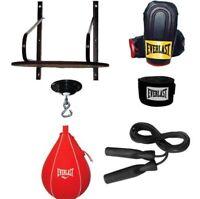 Everlast 6 Piece Boxing Speed Bag Set Platform Swivel Gloves Wraps Jump Rope New