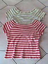 2 Stück  Shirt T-Shirt  Madonna Gr. M Bauchfrei rot / beige und olive / beige