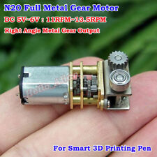 N20 angolo retto Micro FULL METAL GEAR BOX MOTORE DC 5V 11RPM 3D Printing Pen L50