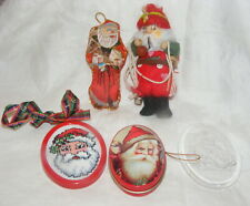 Vintage 5 Christmas Ornaments Rock Climbing Santa Embroided Cross-Stitch