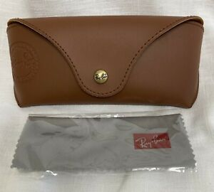 NEW Ray Ban LUXOTTICA Snap Brown Leather Like Case & Cleaning Cloth