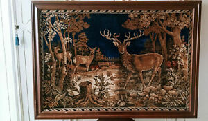 Arazzo Antico GRANDE cm150x107 Velluto Cervi Cornice tappetto vintage