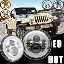 """2 x LAND ROVER DEFENDER 7"""" ROUND LED HEADLAMPS HEADLIGHTS White DRL Turn Signal"""