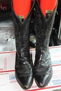 Justin Mens Corona Cowboy Western Black Pull On Boots 12 D, 1434