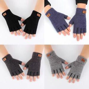 Label Fingerless Gloves Knitted Alpaca Wool Driving Gloves Half Finger Mittens