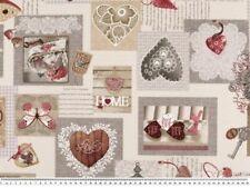 Dekostoff, Patch-Romantik-Herzen, grau-braun-rot,140cm