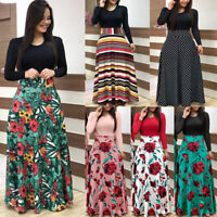Women's Boho Floral Long Sleeve Splice Dresses Ladies Summer Holiday Beach Dress