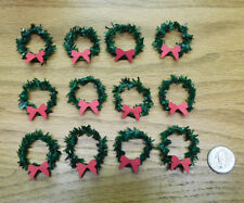 Dollhouse Miniature Handmade Christmas Wreaths - Dozen Lot