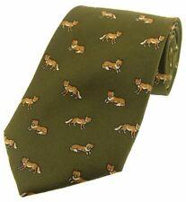 David Van Hagen Mens Foxes Country Silk Tie - Country Green