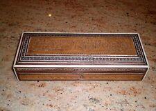 Antique Indian Sadeli carved Sandalwood, Rosewood & Mosaic Work Box, late 1800's