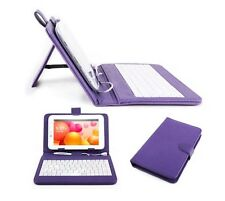 "Purple PU Leather Case Cover & Micro USB Keyboard for Lenovo Tab S8-50 8"" Inch"