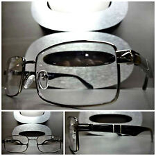Mens or Women CONTEMPORARY MODERN Clear Lens EYE GLASSES Gunmetal & Black Frame