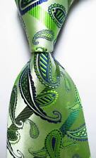 New Classic Paisley Striped Green Blue JACQUARD WOVEN Silk Men's Tie Necktie
