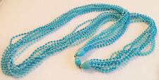 collier vintage bleu9 rangées petites perles attache perle caché R