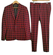"ASOS BLACK RED CHECK SUIT - Chest 40"" R / Trousers 32"""