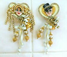 Wedding Day / Just Married LUNCH AT THE RITZ Clip Earrings w Display Card ~ MINT