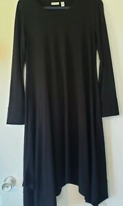 LOGO by Lori Goldstein Rayon 230 Black Dress Handkerchief Hi-Low Hem Pockets S