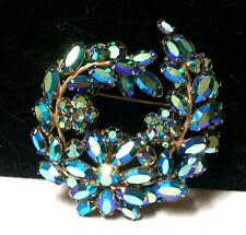 Vintage GORGEOUS AB GREEN-BLUE LUSTER RHINESTONE BROOCH-Signed SHERMAN--Estate
