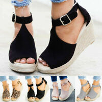 Women Ladies Flatform Cork Espadrille Sandals Wedge Lace Up Ankle Shoes Size 7.5