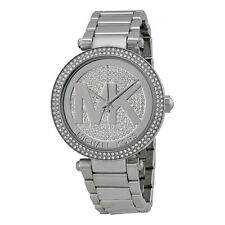 Michael Kors Parker Silver Crystal Pave Dial Stainless Steel Ladies Watch-AU