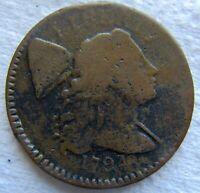 1794 1C Liberty Cap Flowing Hair Large Cent Fine Detail Some Porosity Tough Date