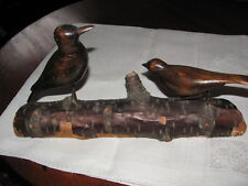 AAFA Americana Unpainted Folk Art Hand Carved Wood Pair of Birds on Log