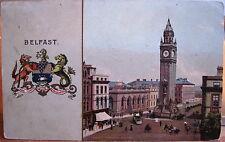 Postcard Belfast N Ireland Coat of Arms Crest Albert Memorial B&R Camera 1906