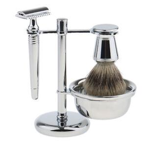 Men Gift Silver Shave Stand+Badger Hair Brush+Bowl+Safety Razor Travel Set