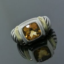 Yurman 925 Sterling Silver 14K Yellow Gold Citrine Vintage Albion Ring Size 6