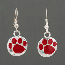 Silver Drop Dangle Red Paw Print Game Day School Color Design Earrings