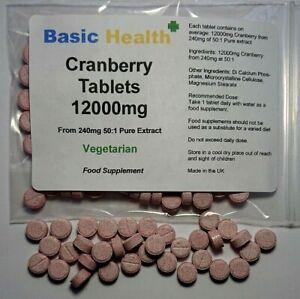 120 x Cranberry Juice 12000mg Tablets Cystitis Urinary Bladder Liver UK VEGAN
