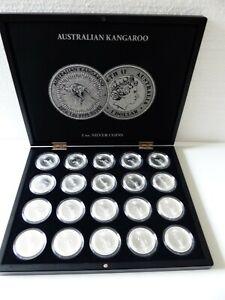 Münzkassette mit 20 Silbermünzen 1 oz Känguru Prägejahr 2020