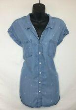 Jachs Girlfriend Cap Sleeve Button Up Denim Shirt w Palm Tree Print Size M NWOT