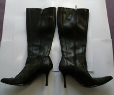 Black leather Stiletto heel knee length boots Pointed toe Size 6 / 39
