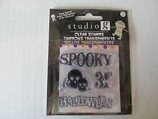 Studio G Clear Halloween Scrapbooking Stamps Peel and Stick on Clear Block