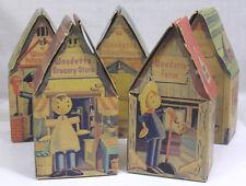 Vtg Woodette Five Stiff Paper Buildings House School Police Store Farm 1940s