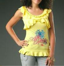 APPLE BOTTOMS  Yellow Ruffle Rhinestone Printed Logo Shirt PLUS SIZE 3X