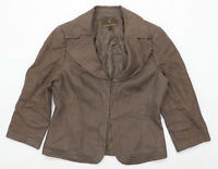 Fenn Wright Manson Womens Size 10 Linen Blend Brown Blazer (Regular)