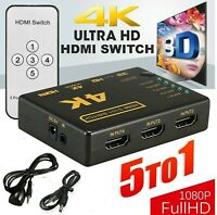 4K 1080P 5 Port HDMI HDTV Auto Switch Switcher Selector Splitter Hub iR Remote