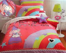 Cubby House Kids Fairy Princess Applique DOUBLE Size Quilt Doona Cover Set