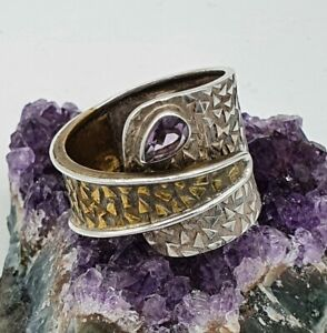 MODERNIST STERLING SILVER 925 WRAP AROUND RING SIZE ADJUSTABLE, AMETHYST